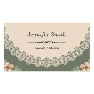 Vintage Spring Chic Floral Pattern Double Sided Double-Sided Standard Business Cards (Pack Of 100)