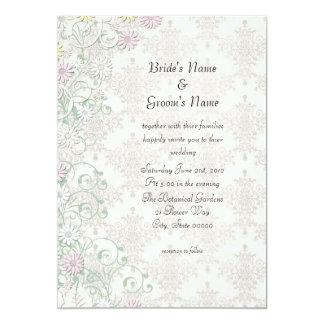 Vintage Spring Damask and Flowers Wedding Invite