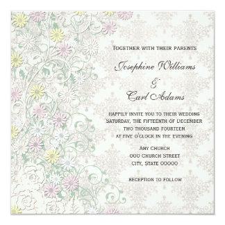 Vintage Spring Delicate Floral Off White Pastel Invitation