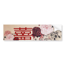 Vintage Spring Double Happines/Chinese Wedding Bumper Sticker
