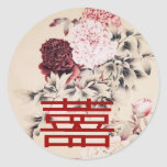 Vintage Spring Double Happines/Chinese Wedding Classic Round Sticker
