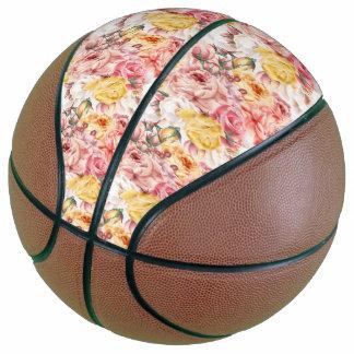 Vintage spring floral bouquet grunge pattern basketball