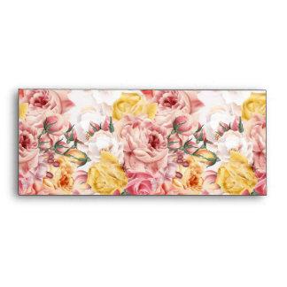 Vintage spring floral bouquet grunge pattern envelope