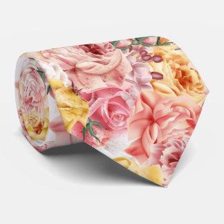 Vintage spring floral bouquet grunge pattern neck tie