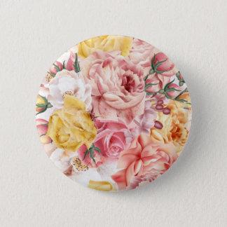 Vintage spring floral bouquet grunge pattern pinback button