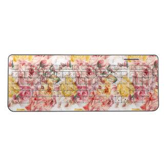 Vintage spring floral bouquet grunge pattern wireless keyboard
