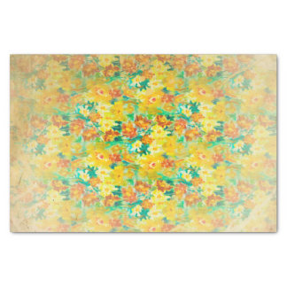 """Vintage Spring Floral on Yellow 10"""" X 15"""" Tissue Paper"""