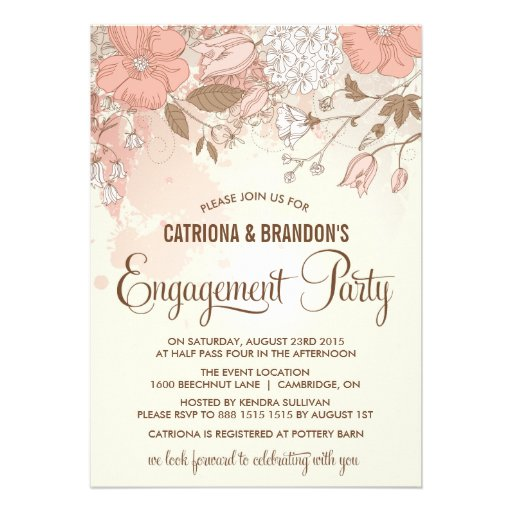 Vintage Spring Flowers Engagement Party Invitation