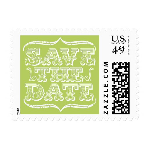 Vintage Spring Green Save the Date Postage Stamp