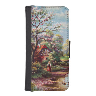 Vintage Spring Landscape, Girl By The Water iPhone 5 Wallet Case