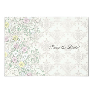 Vintage Spring Off White and Pastel Save the Date 3.5x5 Paper Invitation Card