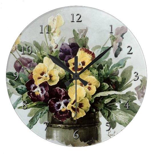 Vintage Spring Pansies Large Clock