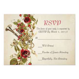 Vintage Spring Red Roses Music RSVP card Personalized Invitation