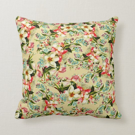 Vintage Spring Romantic Floral Throw Pillow