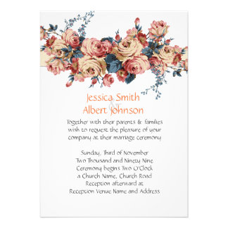 Vintage Spring Roses Wedding Invite