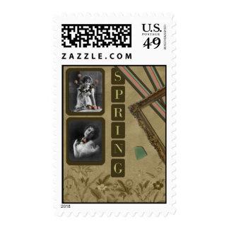 """Vintage """"Spring"""" Scrapbook Postage Stamp"""