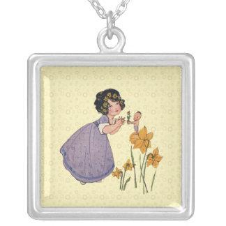 Vintage Spring Sprite Silver Plated Necklace