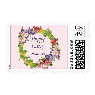 Vintage Spring Wreath - Easter Personalized Postage Stamp