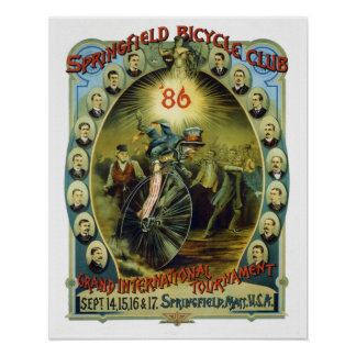 Vintage Springfield Bicycle Club Advertisement Poster