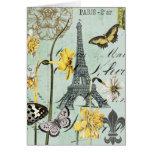 Vintage Springtime in Paris Eiffel Tower Notecard Stationery Note Card