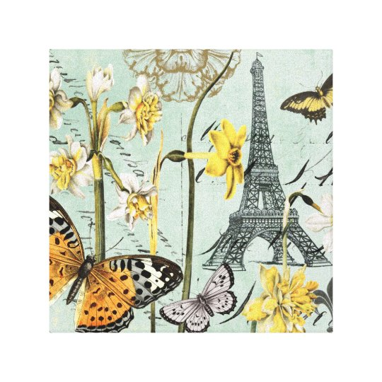 Vintage Springtime in Paris stretched canvas