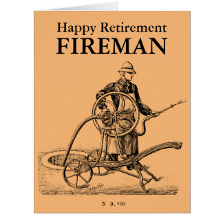 Vintage Sprinkler Happy Retirement Fireman L card