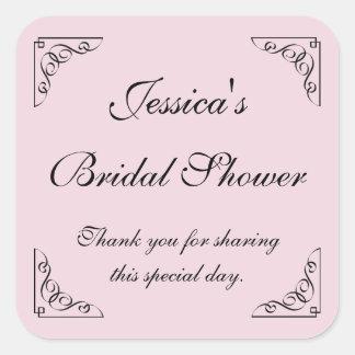 Vintage square bridal shower party favor stickers