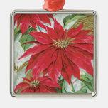 Vintage Square Poinsettia Christmas Ornament