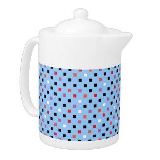 Vintage Square Polka Dots Pattern on Light Blue Teapot