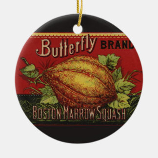 Vintage Squash Country Farm Vegetable Graphic Ceramic Ornament