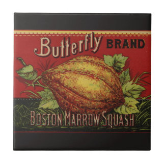 Vintage Squash Label Antique Vegetable Advertising Ceramic Tile