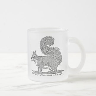 Vintage Squirrel Illustration - 1800's Squirrels Frosted Glass Coffee Mug