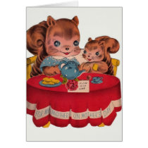 Vintage Squirrel Mother's Day Greeting Card