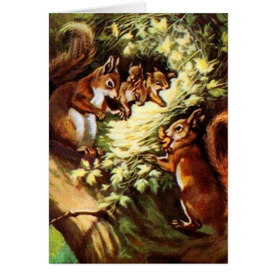 Vintage Squirrels Card
