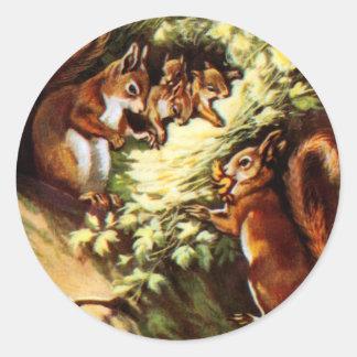 Vintage Squirrels Classic Round Sticker