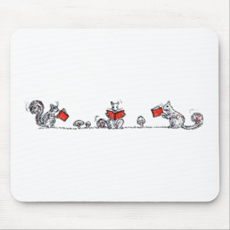 Vintage Squirrels Cute | Reading Books Mouse Pad