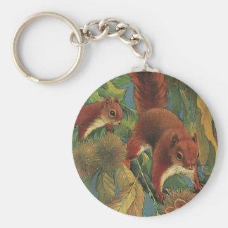 Vintage Squirrels, Forest Creatures, Wild Animals Keychain