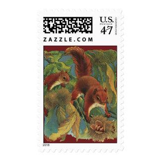 Vintage Squirrels, Forest Creatures, Wild Animals Postage