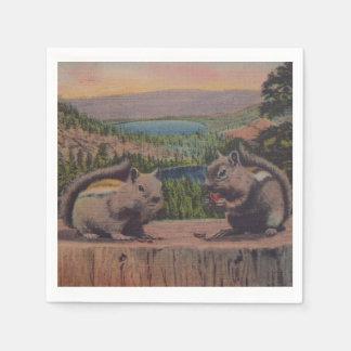 Vintage Squirrels Mountain Scene Paper Napkin