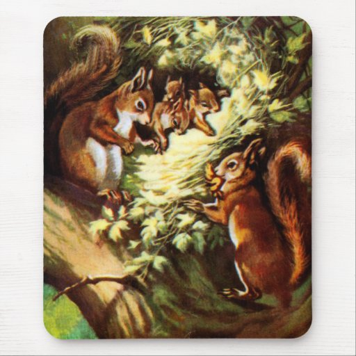 Vintage Squirrels Mouse Pad