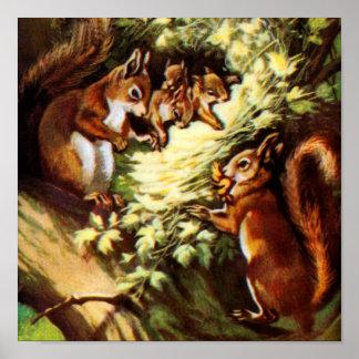 Vintage Squirrels Poster