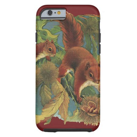 Vintage Squirrels, Wild Animals, Forest Creatures Tough iPhone 6 Case