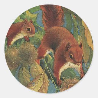 Vintage Squirrels, Wild Animals, Forest Creatures Classic Round Sticker