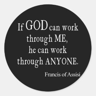 Vintage St Francis de la cita religiosa de dios de Pegatina Redonda