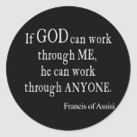 Vintage St. Francis of Assisi God Religious Quote Classic Round Sticker