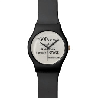 Vintage St. Francis of Assisi God Religious Quote Watch