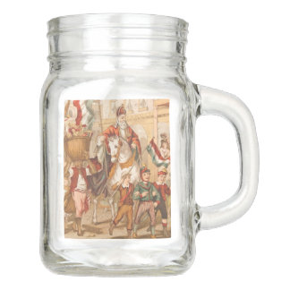 Vintage St. Nicholas St. Nick Dutch Sinterklaas Mason Jar