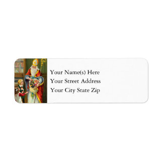 Vintage St. Nicholas With Children on Christmas Label