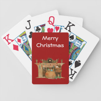 Vintage St. Nick Fireplace Playing Cards