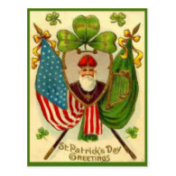Vintage St Patrick American Flag St Patrick's Day Post Card